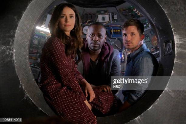 TIMELESS 'The Miracle of Christmas Part II' Episode 212 Pictured Abigail Spencer as Lucy Preston Malcolm Barrett as Rufus Carlin Matt Lanter as Wyatt...