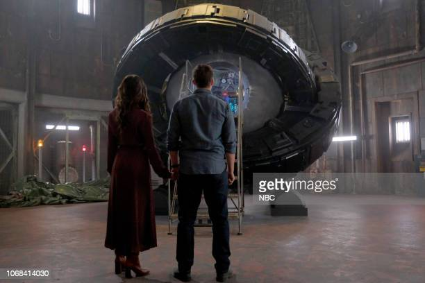 TIMELESS 'The Miracle of Christmas Part II' Episode 212 Pictured Abigail Spencer as Lucy Preston Matt Lanter as Wyatt Logan