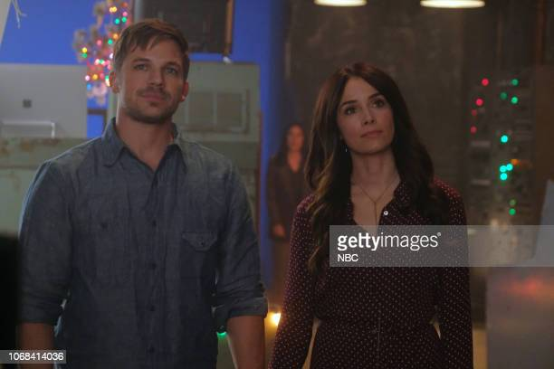 TIMELESS 'The Miracle of Christmas Part II' Episode 212 Pictured Matt Lanter as Wyatt Logan Abigail Spencer as Lucy Preston