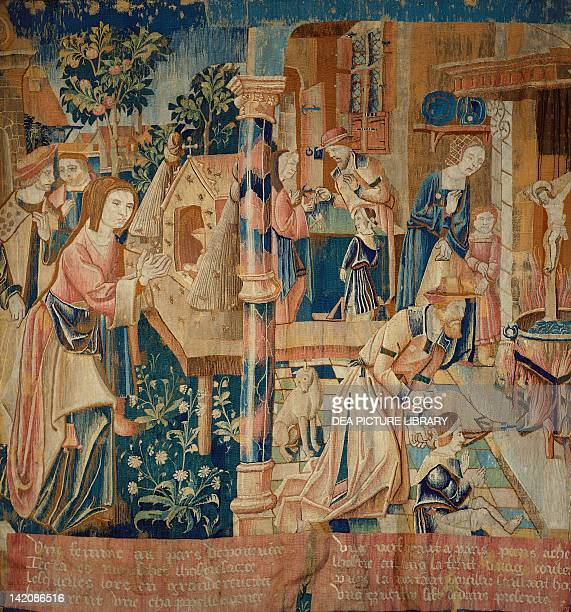 The Miracle of the Honeybee 16th century French tapestry from the series Choir from the Abbey of Ronceray at Angers kept in the Langeais Castle France