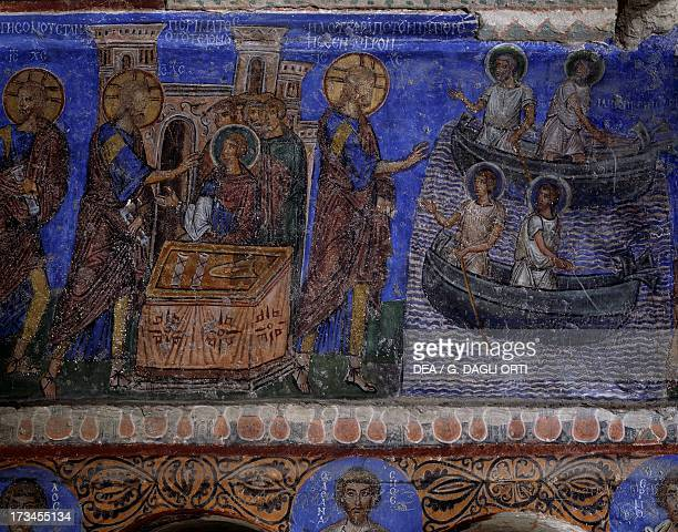 The miracle of the loaves and fishes Byzantine fresco in the transept of Tokali Kilise Goreme Cappadocia Turkey