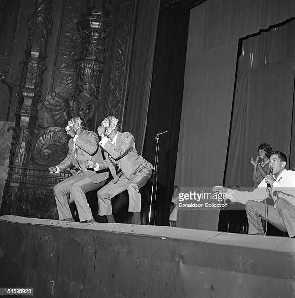 The Miracles Smokey robinson on lead vocals perform onstage during Murray The K's Big Holiday Show at the Brooklyn Fox Theater on August 3 1963 in...