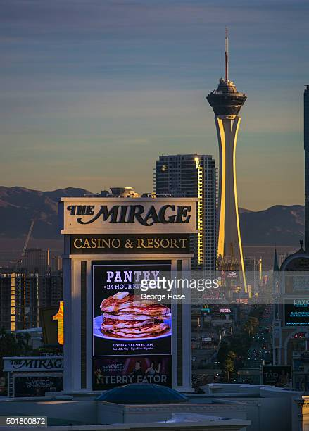 """The Mirage Hotel & Casino and Stratosphere, located along The Strip, is viewed on December 4, 2015 in Las Vegas, Nevada. Tourism in America's """"Sin..."""