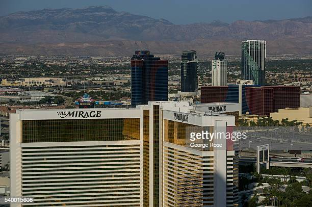 The Mirage Hotel Casino is viewed from across The Strip at the Palazzo Hotel Casino on June 7 2016 in Las Vegas Nevada Tourism in America's Sin City...