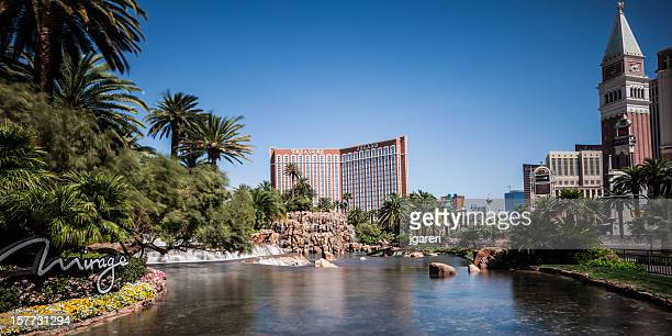 the mirage hotel waterfall and pond - the mirage las vegas stock pictures, royalty-free photos & images