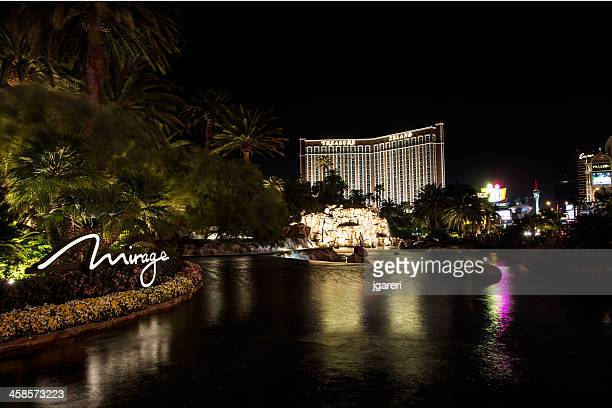 the mirage hotel waterfall at night - mirage hotel stock pictures, royalty-free photos & images