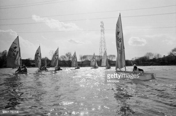 The Mirror Sailing Dinghy Picture taken at the IPC Yacht Club Farloes Lake Iver Buckinghamshire showing the boats grouped together for the start of a...