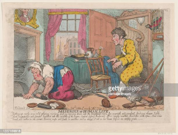 Getting Up Early in a Cold Gloomy MorningBefore an Empty Grate October 9 1807 Artist Thomas Rowlandson