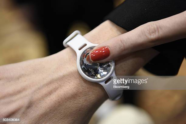 The Misfit Swarovski Shine fitness and sleep tracker is displayed for a photograph during CES Unveiled at the 2016 Consumer Electronics Show in Las...