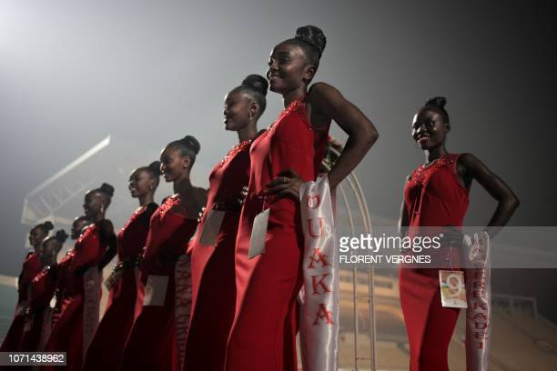 TOPSHOT The Miss Central African Republic 2018 contestants are waiting for the jury's verdict in an evening gowns during the beauty pageant in Bangui...