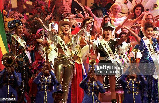 The Miss World contestants finish the final rehearsal 26 November 1993 for Saturday's pageant at Sun City in South Afirca Eightyone countries are...