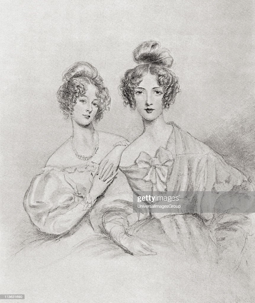 The Misses Catherine and Mary Glynne. Catherine Glynne Gladstone, nee Catherine Glynne,1812 to 1900. Wife of British Prime Minister William Gladstone. Mary Glynne later Lady Lyttleton 1813 to 1857. From the book Gladstone The Man and the Statesman by Davi... : News Photo