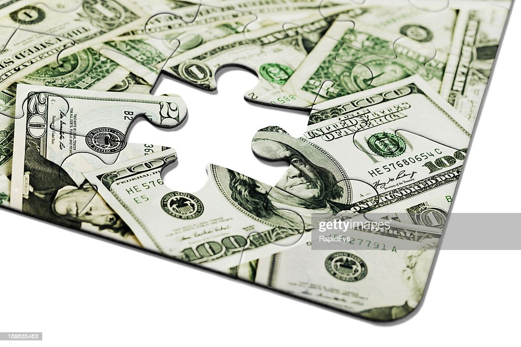 2ec4046deceb The Missing Link Puzzle Of Us Dollars Minus One Piece Stock Photo ...