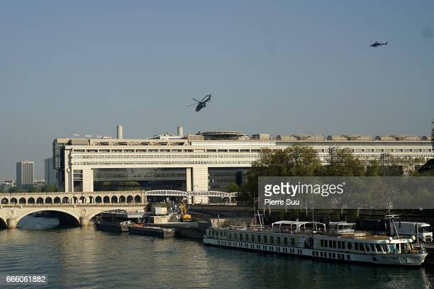 The Mission Impossible crew is seen filming a scene of the movie on the rooftop of the french ministry of finance on April 8 2017 in Paris France