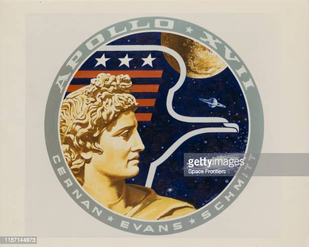 The mission insignia of NASA's Apollo 17 lunar landing mission designed by artist Robert McCall in collaboration with the crew 18th September 1972 It...