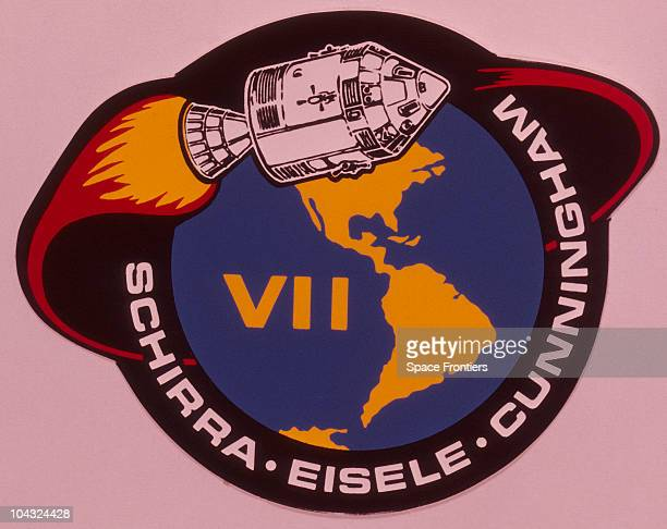 The mission patch of the Apollo 7 mission with the names of astronauts Walter Schirra Donn F Eisele and Walter Cunningham beneath 1968