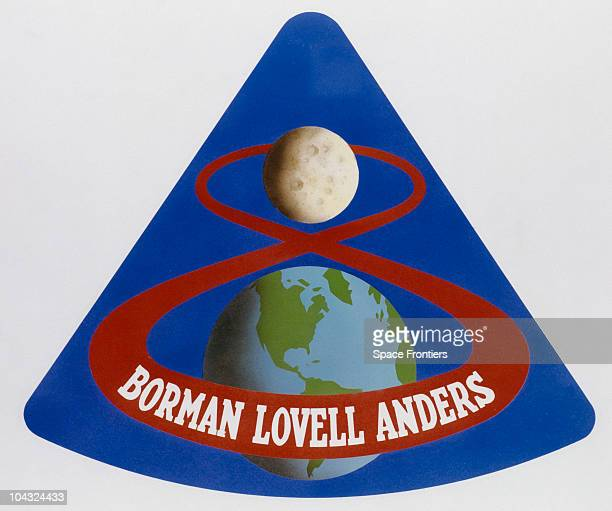 The mission patch of the Apollo 8 mission with the names of astronauts Frank Borman Jim Lovell and William Anders beneath 1968