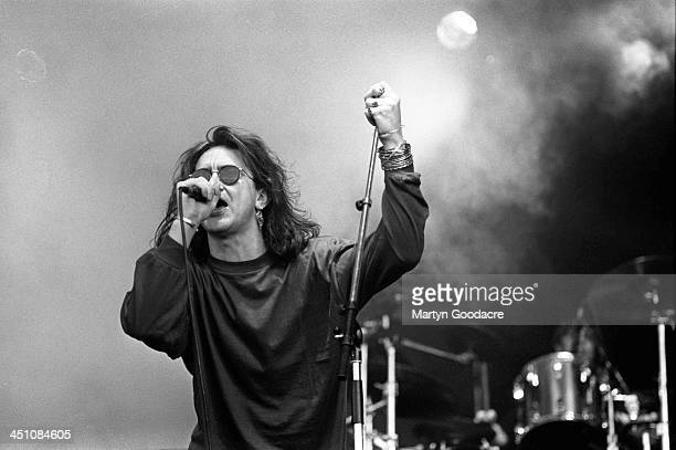 The Mission singer Wayne Hussey performs on stage at Finsbury Park in London United Kingdom 1st June 1991
