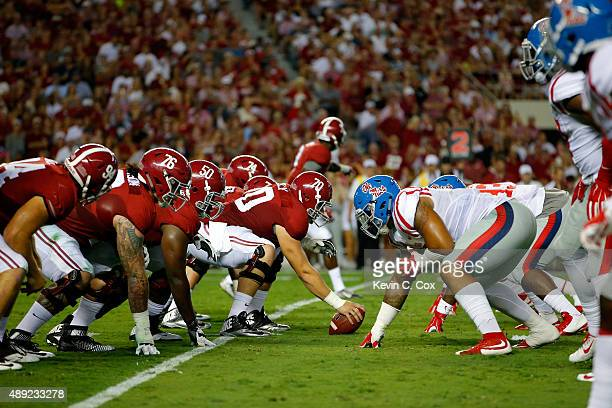 The Mississippi Rebels defense lines up against the Alabama Crimson Tide offense at BryantDenny Stadium on September 19 2015 in Tuscaloosa Alabama