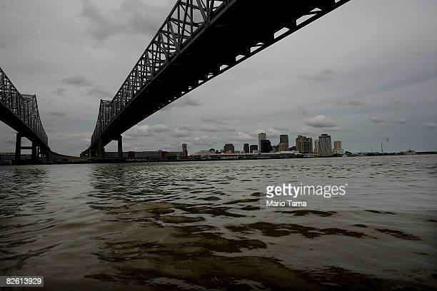The Mississippi River and downtown New Orleans seen from the West Bank August 31 2008 in New Orleans Louisiana The West Bank is considered to be at...