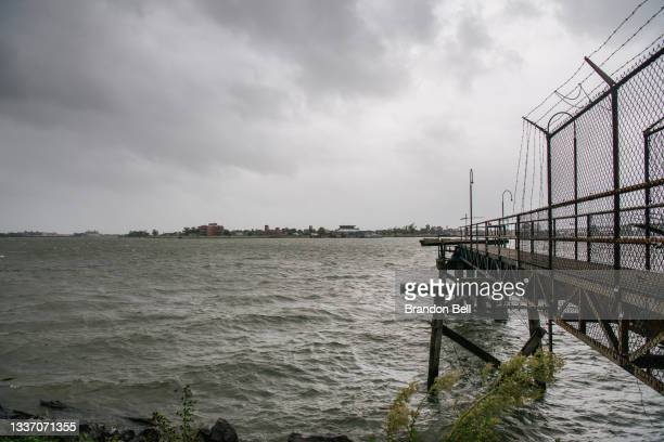 The Mississippi River is seen ahead of Hurricane Ida on August 29, 2021 in New Orleans, Louisiana. Residents of New Orleans continue to prepare as...