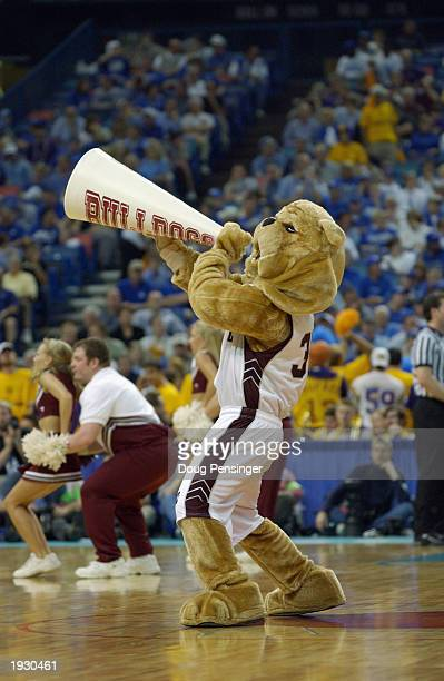 The Mississippi State Bulldog mascot gets the crowd fired up during semifinal action in the SEC Men's Basketball Tournament against Louisiana State...