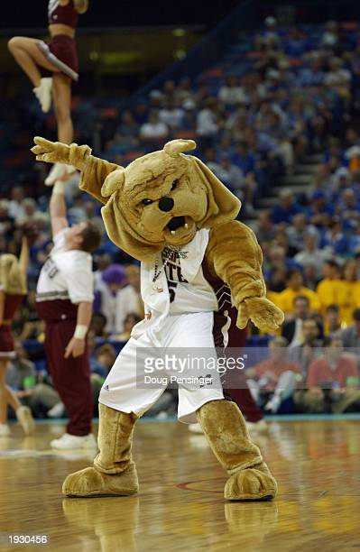The Mississippi State Bulldog mascot moves on the court during semifinal action in the SEC Men's Basketball Tournament against Louisiana State...