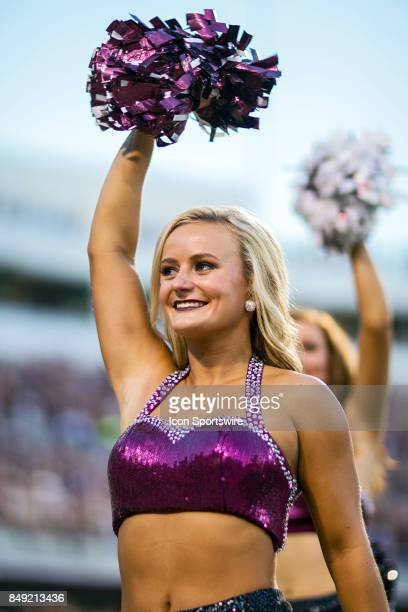 The Mississippi State Bulldogs cheerleaders entertain the crowd during a football game between the Mississippi State Bulldogs and the LSU Tigers at...