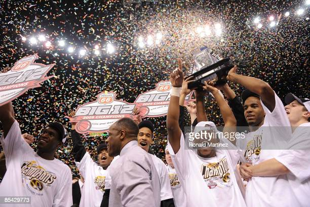 The Missouri Tigers celebrate after winning the Phillips 66 Big 12 Men's Basketball Championship at the Ford Center March 14 2009 in Oklahoma City...