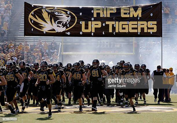The Missouri Tigers run onto the field prior to the start of the game against the Baylor Bears at Faurot Field at Memorial Stadium on November 7,...