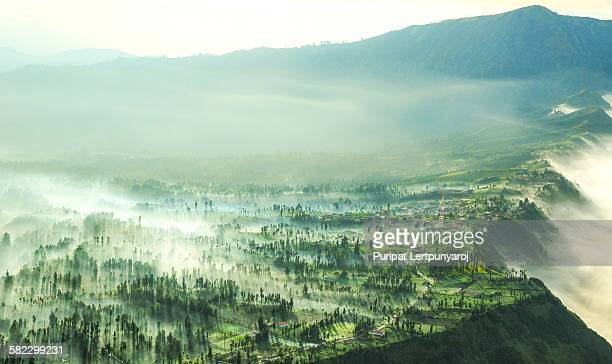 the mist fall down from the crater of mt.bromo - bromo crater stock photos and pictures
