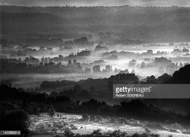The mists in the valley seen from Loubressac in the Lot department France