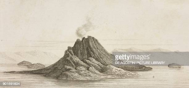 The Mitake volcano Japan engraving by Lemaitre from Japon IndoChine Empire Birman Sima Annam Peninsule Malaise etc Ceylan by AdolphePhilibert Dubois...
