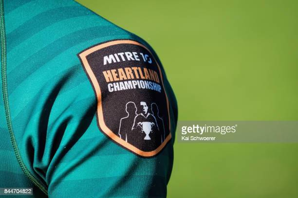 The Mitre 10 Heartland Championship logo is seen during the Heartland Championship match between Mid Canterbury and South Canterbury on September 9...