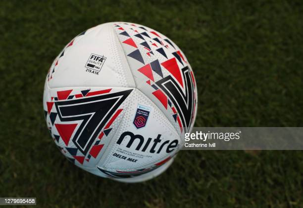The Mitre Delta ball with the WSL logo on during the Barclays FA Women's Super League match between Chelsea Women and Manchester City Women at...