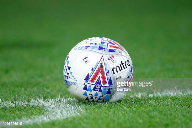The Mitre Delta Match Ball during the Sky Bet Championship match between Huddersfield Town and Blackburn Rovers at John Smith's Stadium on December...