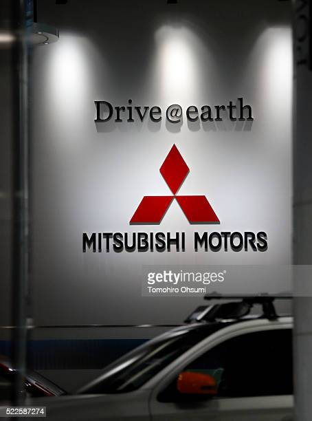 The Mitsubishi Motors logo is displyed at the company's headquarters on April 20 2016 in Tokyo Japan Mitsubishi Motors share plunged more than 15%...