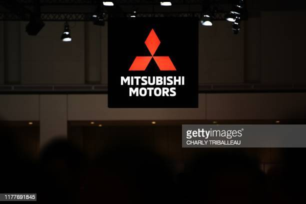 The Mitsubishi Motors logo is pictured during the Tokyo Motor Show in Tokyo on October 23, 2019.
