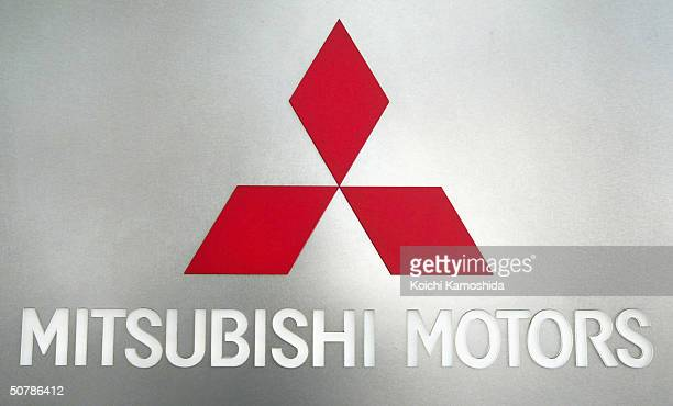 The Mitsubishi Motors logo is seen on April 30, 2004 in Tokyo, Japan. Mitsubishi Motors has announced that are holding talks with Toyota concerning...