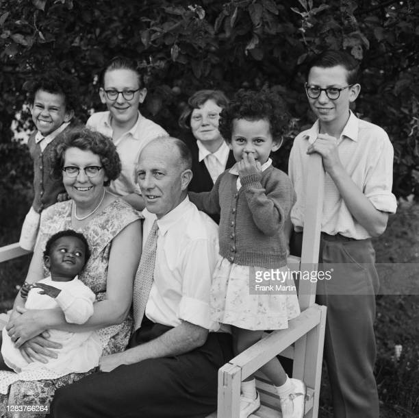 The mixed race Long family of Olyffe Avenue in Welling, Kent, July 1960. The parents are Lydia and William Long, with their biological children...