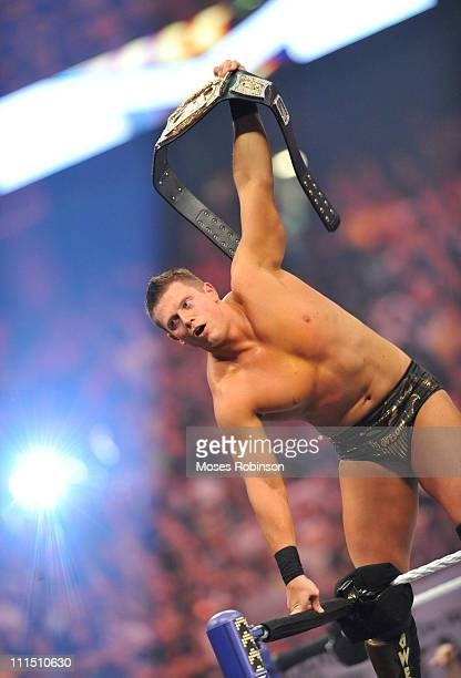 The Miz stands on the ropes at 2011 WrestleMania 27 at the Georgia World Congress Center on April 3 2011 in Atlanta Georgia