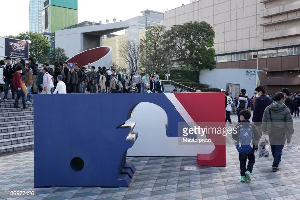 The MLB logo is installed prior to the game between Seattle Mariners and Oakland Athletics at Tokyo Dome on March 20 2019 in Tokyo Japan