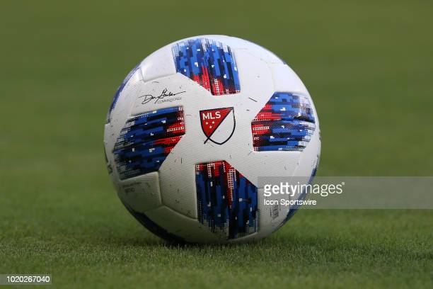 The MLS logo on a soccer ball before an MLS match between the Portland Timbers and Sporting Kansas City on August 18, 2018 at Children's Mercy Park...