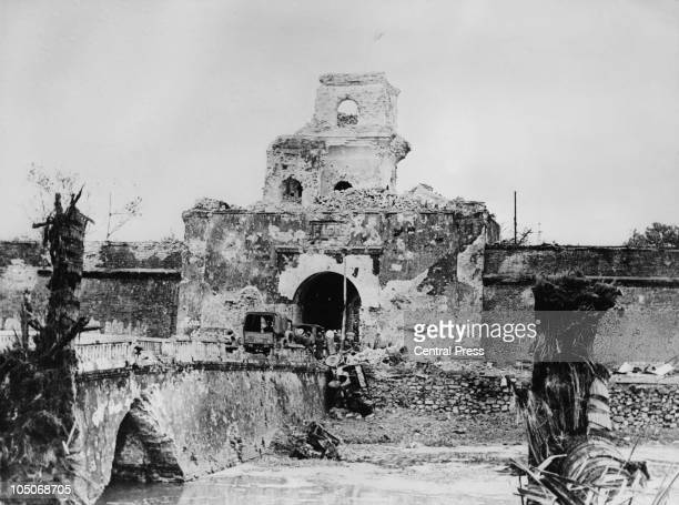 The moat around the citadel at Hue after intense fighting at the Battle of Hue during the Vietnam War 13th March 1968 The fighting ended with...