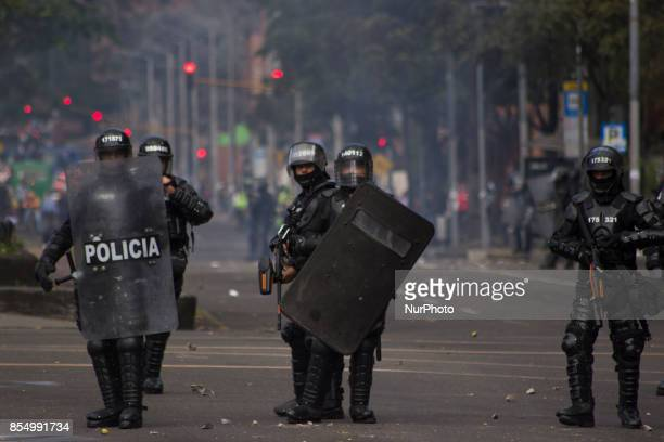 The Mobile AntiRiot Squad in the protests in the pedagogica University in Bogota Colombia on September 27 2017