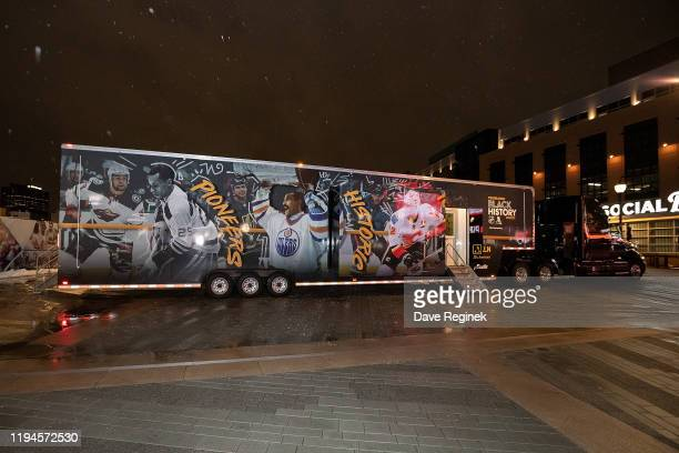 The mobile museum truck celebrating Black History Month is parked outside in the plaza prior to an NHL game between the Detroit Red Wings and the...