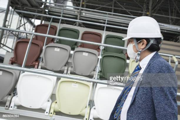 The mockup of spectators' seats to be used for new national stadium at the 2020 Olympics are displayed during a press preview in Tokyo Oct 13 2017