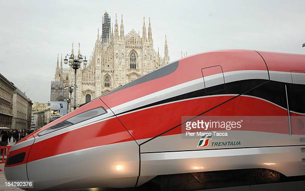 The mockup of the new Frecciarossa 1000 highspeed train is unveiled at Piazza Duomo on October 17 2012 in Milan Italy The managing director of the...