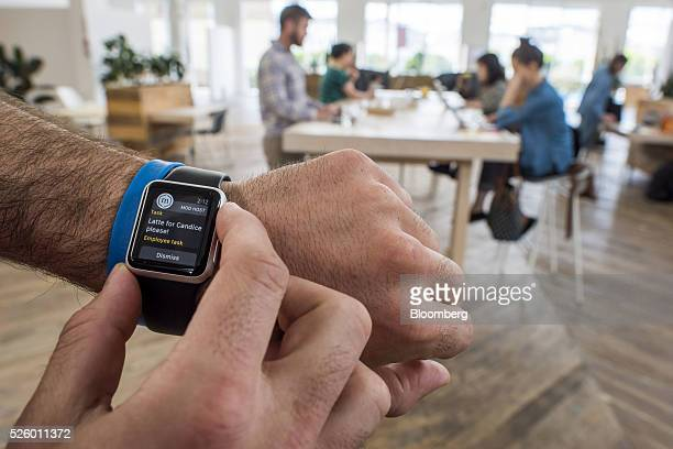 The Mod application is displayed for a photograph on an Apple Watch inside the Mod workspace in San Francisco California US on Tuesday April 26 2016...