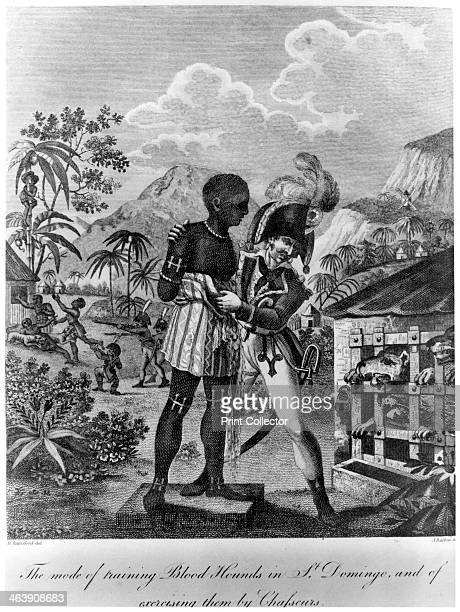 The Mode of training Blood Hounds in St Domingo and of exercising them by Chasseurs, 1805. A French soldier showing a negro slave to a pack of caged...